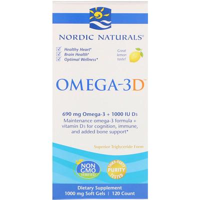 Omega-3D, со вкусом лимона, 1000 мг, 120 мягких желатиновых капсул стоимость