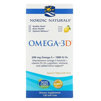 Купить Nordic Naturals Omega-3D, со вкусом лимона, 1000 мг, 120 мягких желатиновых капсул