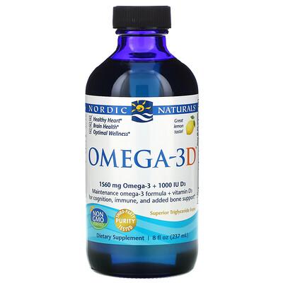 Nordic Naturals Omega-3D, Lemon, 237 мл (8 жидких унций)