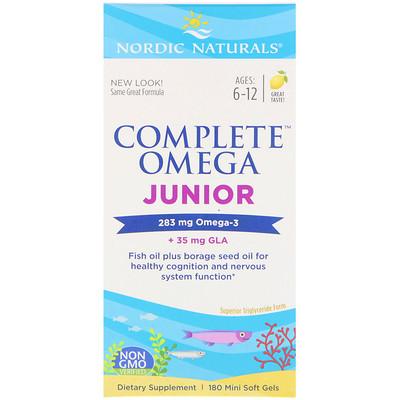 Купить Complete Omega Junior, комлекс омега для детей, со вкусом лимона, 180мягких мини-таблеток