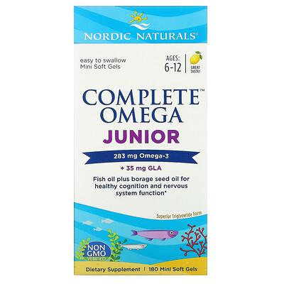 Купить Nordic Naturals Complete Omega Junior, для детей от 6до 12лет, лимон, 180мини-капсул