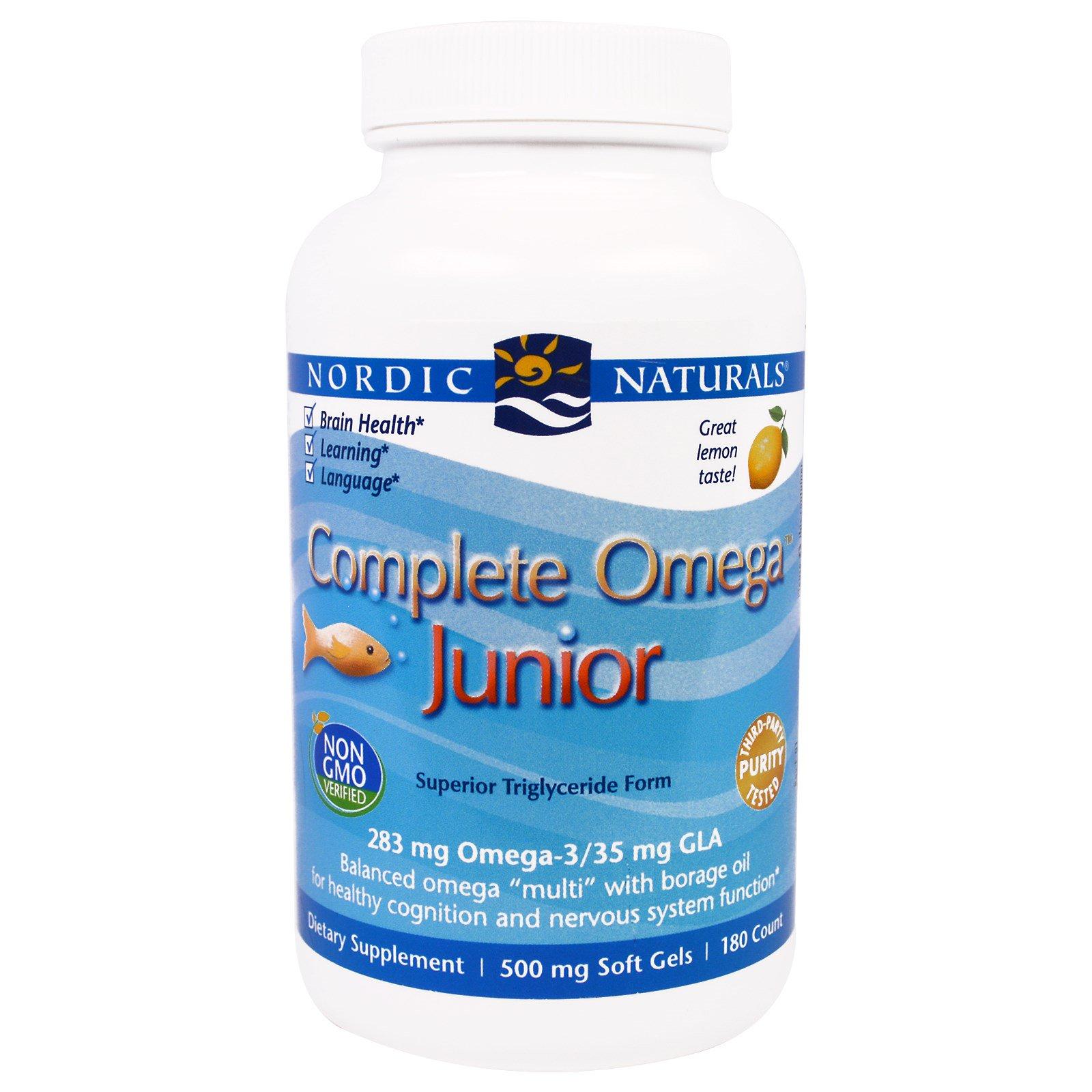 Nordic Naturals, Комплексные витамины Omega со вкусом лимона для детей и подростков, 500 мг, 180 жевательных гелевых капсул
