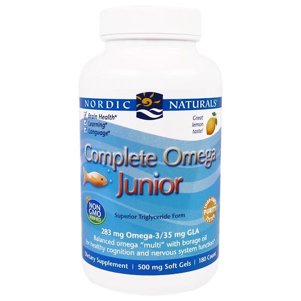 Nordic Naturals, Complete Omega Junior, Lemon, 500 mg, 180 Soft Gels