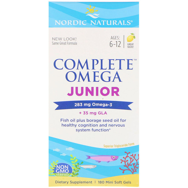 Nordic Naturals, Complete Omega Junior, Lemon, 180 Mini Soft Gels