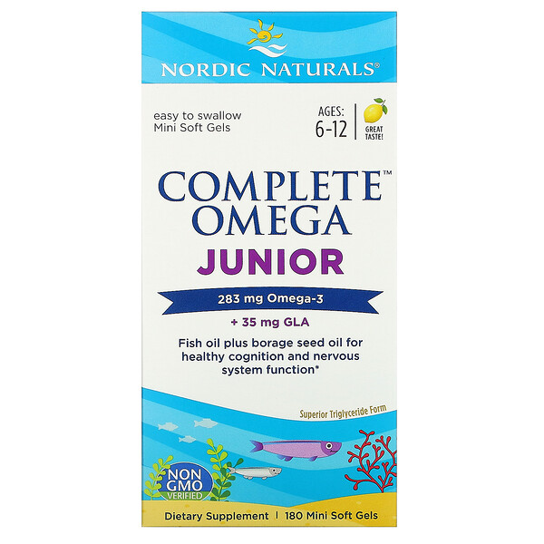 Complete Omega Junior, Ages 6-12, Lemon, 180 Mini Soft Gels