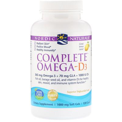 Купить Полный комплекс омега-D3, лимон, 1000мг, 120 мягких таблеток