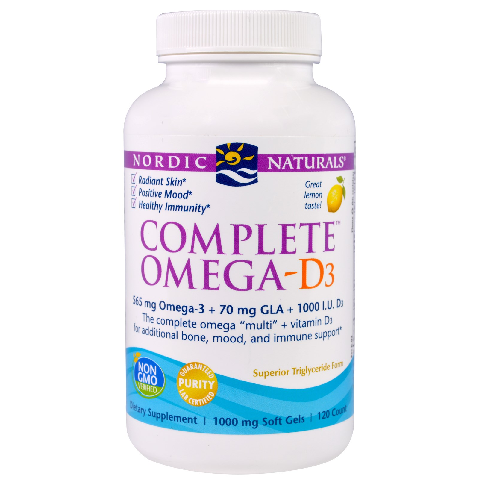 Nordic Naturals, Complete Омега D3, вкус лимона, 1000 мг, 120 капсул