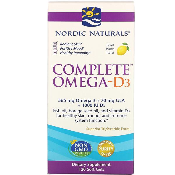 Полный комплекс Омега-D3, лимон, 1000мг, 120 капсул