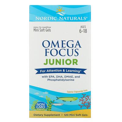 Купить Nordic Naturals Omega Focus Junior, для детей от 6 до 18лет, 120мягких желатиновых мини-капсул