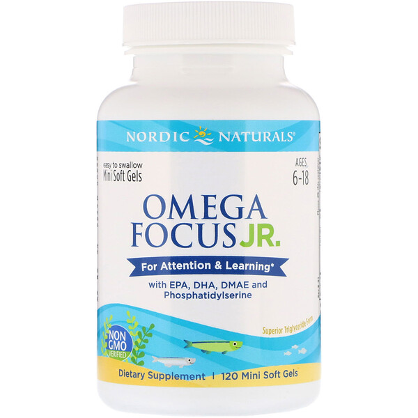 Omega Focus Junior, Ages 6-18, 120 Mini Soft Gels