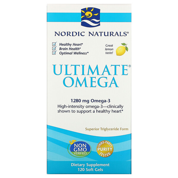 Nordic Naturals, Ultimate Omega, со вкусом лимона, 1280 мг, 120 капсул