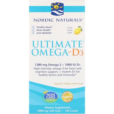 Ultimate Omega-D3, с лимоном, 1000 мг, 120 гелевых капсул