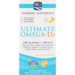 Nordic Naturals, 究極のオメガ-D3、レモン、1000mg、120ソフトジェル