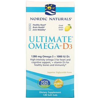 Nordic Naturals, Ultimate Omega-D3, Lemon, 1,000 mg, 120 Soft Gels