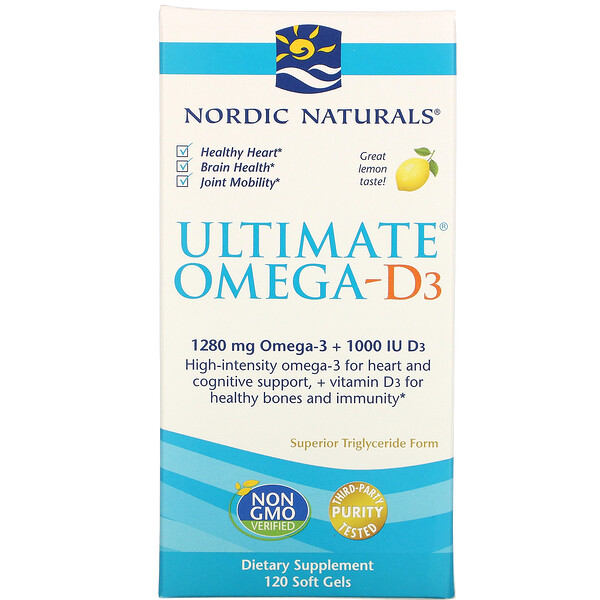 Ultimate Omega-D3, Lemon, 1,000 mg, 120 Soft Gels