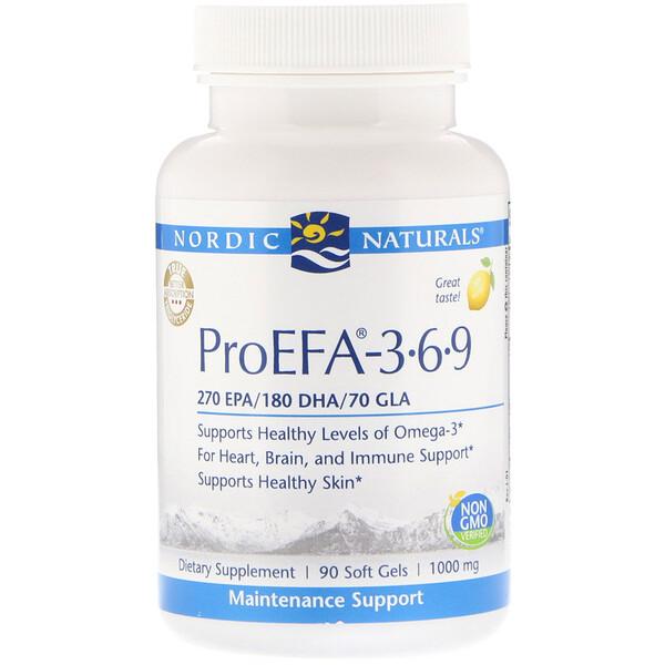 Nordic Naturals, ProEFA - 3-6-9, Lemon, 1,000 mg, 90 Soft Gels (Discontinued Item)