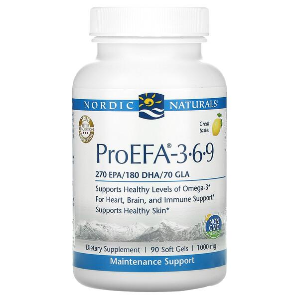 Nordic Naturals, ProEFA 3-6-9, Lemon, 500 mg, 90 Soft Gels