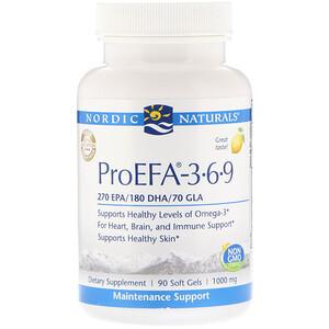 нордик Натуралс, ProEFA — 3-6-9, Lemon, 1,000 mg, 90 Soft Gels отзывы