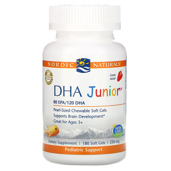 DHA Junior, Great for Ages 3+, Strawberry, 250 mg, 180 Soft Gels