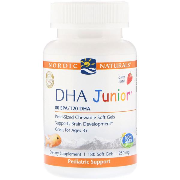 Nordic Naturals, DHA Junior, Strawberry, 250 mg, 180 Soft Gels