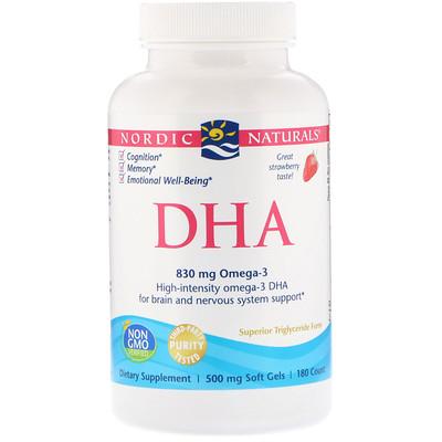 Купить DHA, Клубника, 500 мг, 180 мягких шариков