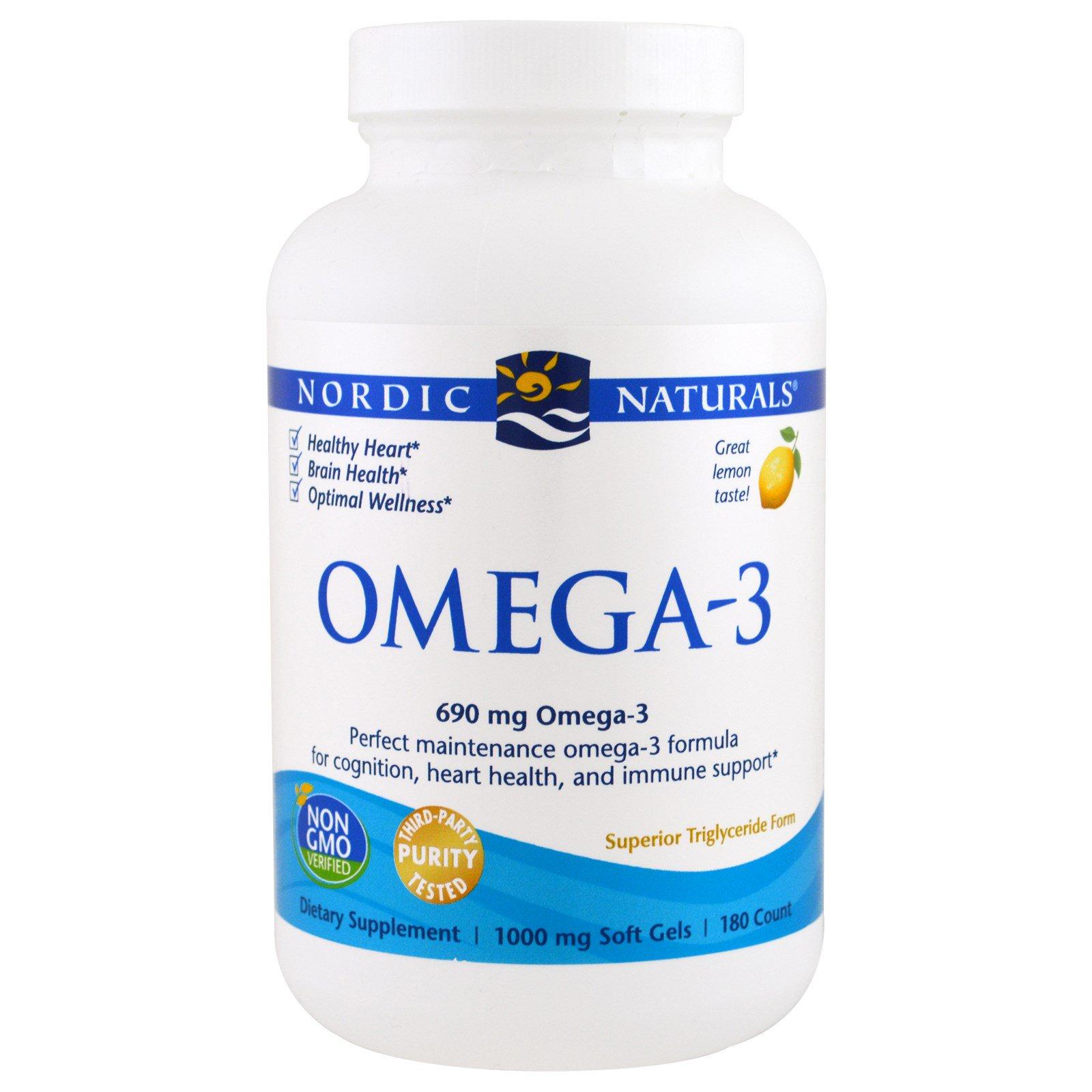 Nordic Naturals, Омега-3, со вкусом лимона, 1000 мг, 180 желатиновых капсул