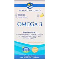 Омега-3, со вкусом лимона, 690 мг, 180 желатиновых капсул - фото
