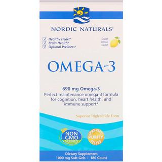 Nordic Naturals, Oméga-3, Citron, 690 mg, 180 gels mous