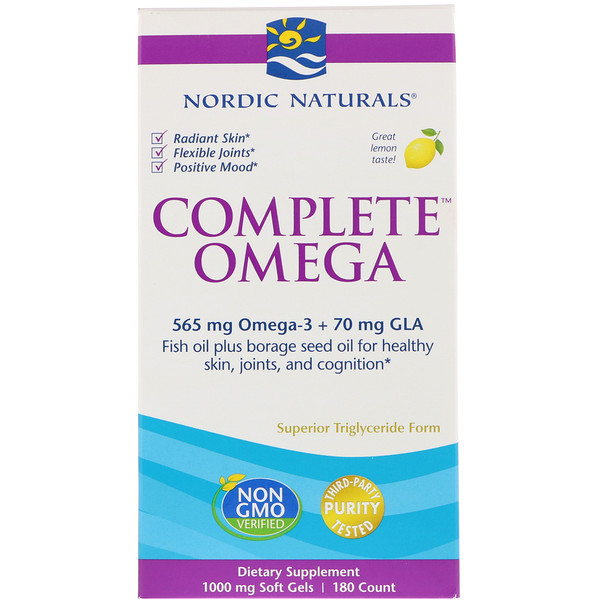 Ultimate Omega + D3, citron, 1000 mg, 180 capsules molles.