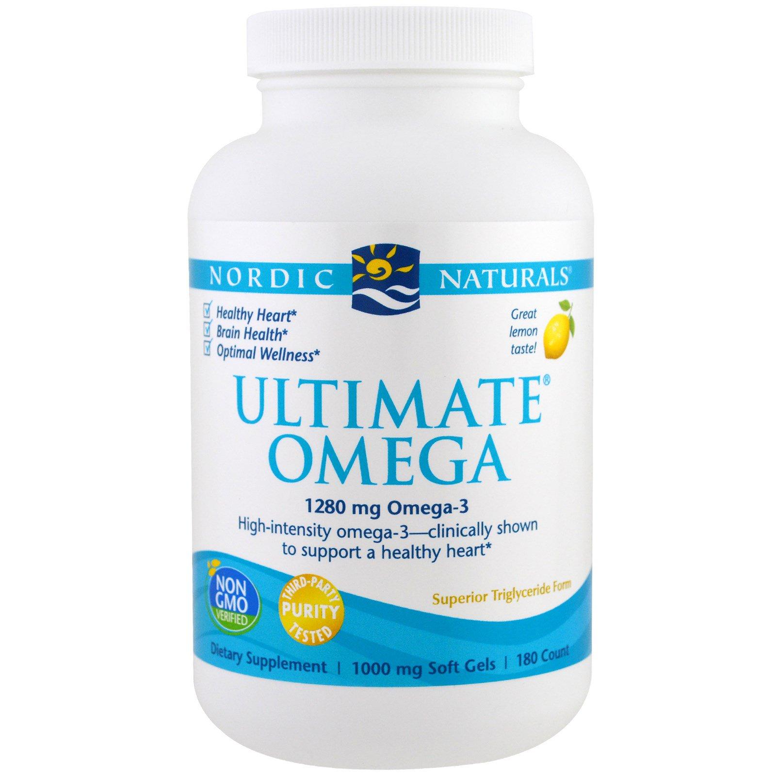 Nordic Naturals, Ultimate Omega, со вкусом лимона, 1280 мг, 180 желатиновых капсул
