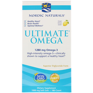 Nordic Naturals, Ultimate Omega, Lemon, 1,280 mg, 180 Soft Gels