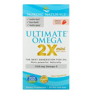 Nordic Naturals, Ultimate Omega(アルティメットオメガ)2X、ストロベリー、1,120mg、ミニソフトジェル60粒