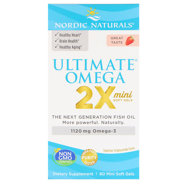 Nordic Naturals, Ultimate Omega 2X, Strawberry, 1,120 mg, 60 Mini Soft Gels