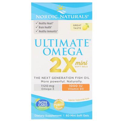 Ultimate Omega 2X с витамином D3, лимон, 60 мягких мини-таблеток postnatal omega 3 лимон 650 мг 60 мягких таблеток