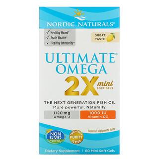 Nordic Naturals, Ultimate Omega 2X com Vitamina D3, Limão, 60 Mini Cápsulas Softgel