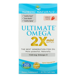 Nordic Naturals, Ultimate Omega 2X Teen, Ages 12-18, Strawberry, 60 Mini Soft Gels