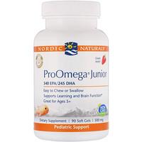 ProOmega Junior, Strawberry, 500 mg, 90 Soft Gels - фото