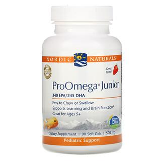 Nordic Naturals, ProOmega Junior, Morango, 500 mg, 90 Cápsulas Softgel