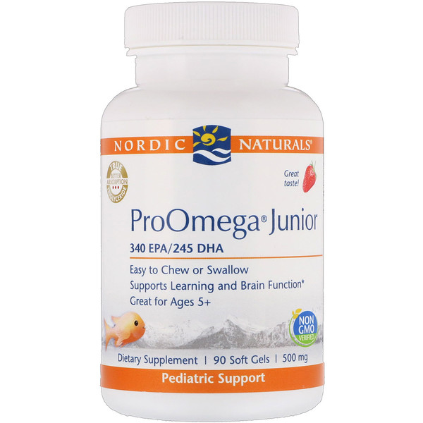 ProOmega Junior, Strawberry, 500 mg, 90 Soft Gels