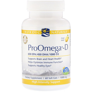 Nordic Naturals, ProOmega-D, Lemon, 1,000 mg, 60 Soft Gels