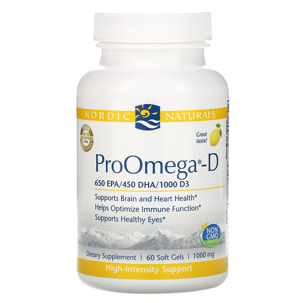 ProOmega-D, Lemon, 1,000 mg, 60 Soft Gels
