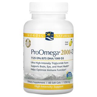 Nordic Naturals, ProOmega 2000-D, Lemon, 625 mg, 60 Soft Gels