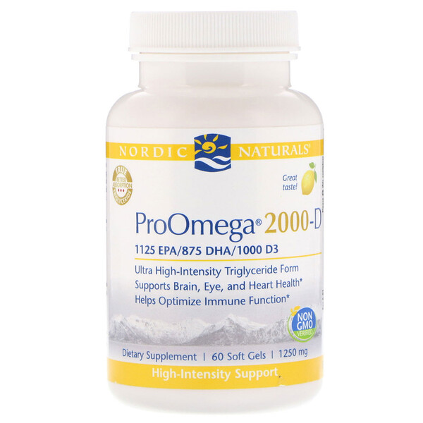 Nordic Naturals, ProOmega 2000-D, Lemon, 1,250 mg, 60 Soft Gels (Discontinued Item)