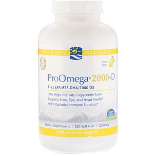 Nordic Naturals, ProOmega 2000-D, Lemon Flavor, 1,250 mg, 120 Soft Gels