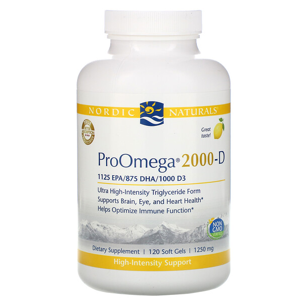 Nordic Naturals, ProOmega 2000-D, Lemon , 1,250 mg, 120 Soft Gels