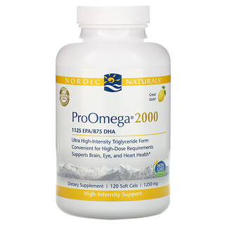 Nordic Naturals, ProOmega 2000, Lemon, 1,250 mg, 120 Soft Gels