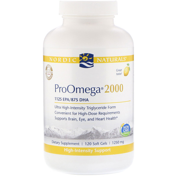 Nordic Naturals, ProOmega 2000, Lemon, 1,250 mg, 120 Soft Gels