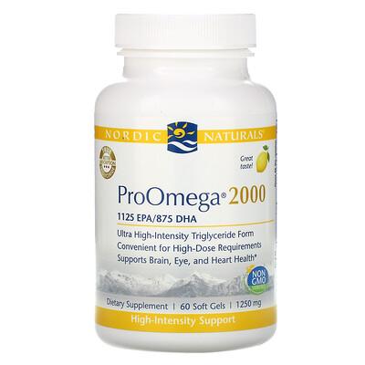 Купить Nordic Naturals ProOmega 2000, лимон, 1250 мг, 60 мягких желатиновых капсул