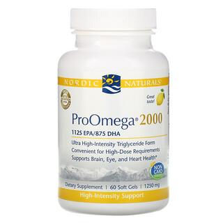 Nordic Naturals, ProOmega(プロオメガ)2000、レモン、1,250 mg、ソフトジェル60粒