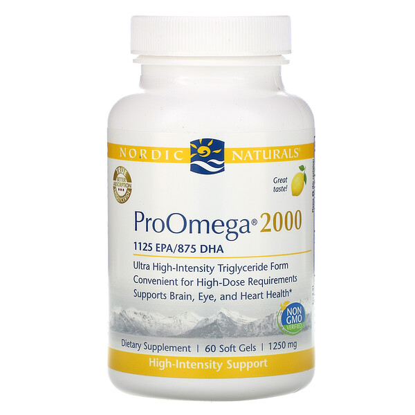 ProOmega 2000, Lemon, 1,250 mg, 60 Soft Gels